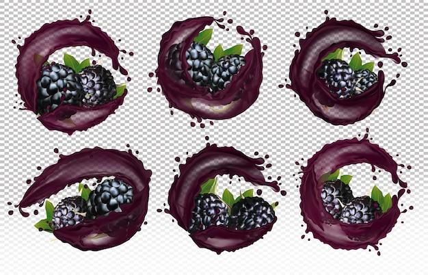 Set of 3d icons of six varieties of blackberry in splashes of juice drops