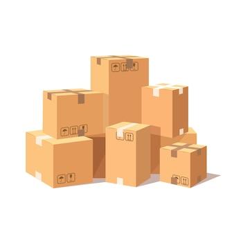 Set of 3d isometric carton cardboard box
