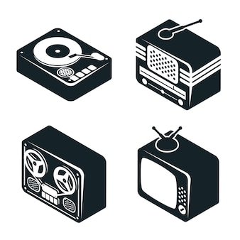 Set of 3d isometric icons of retro media devices in black and white color on white background.