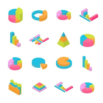 Set of 3d isometric infographic elements