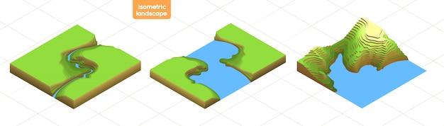 Установите 3d изометрическая карта с переходами вершин. красочный плоский пейзаж. путешествия, туризм, навигация и бизнес фон. топография иллюстрации изолированы. иконки для карт города, игры