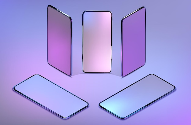 3dアイソメトリックリアルなカラフルなスマートフォンのモックアップを設定します。インフォグラフィックとuiデザインのテンプレート。空白のディスプレイ分離テンプレートと電話フレーム。
