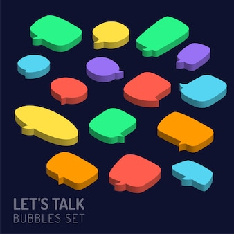 Set of 3d isometric speech bubbles icon