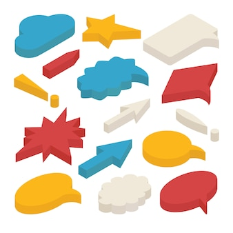 Set of 3d isometric speech bubbles