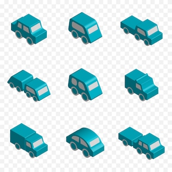 Set of 3d isometric toy vehicles