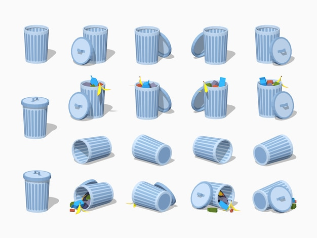 Set of the 3d lowpoly isometric trash cans