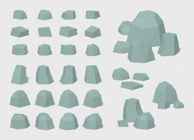 Set of 3d lowpoly rocks and stones