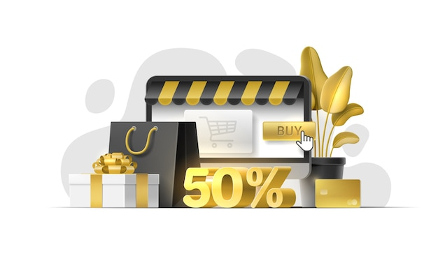 Set of 3d objects for online shopping, store, sale banner, discount shop, flyer, mobile app, website
