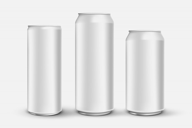 Set of 3d realistic aluminium cans isolated