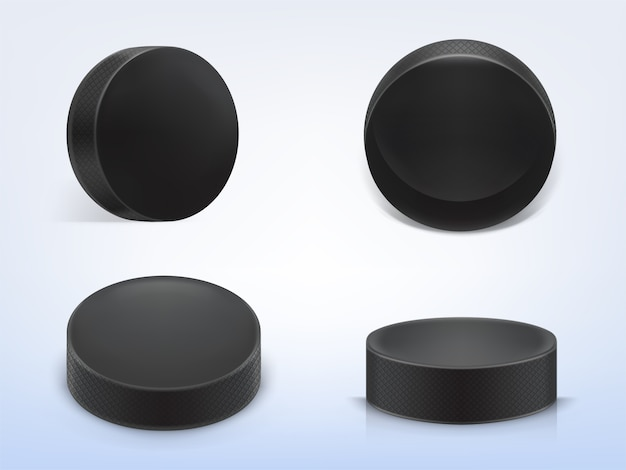 Set of 3d realistic black rubber pucks for play ice hockey isolated on light background