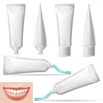 Set 3d realistic blank toothpaste.