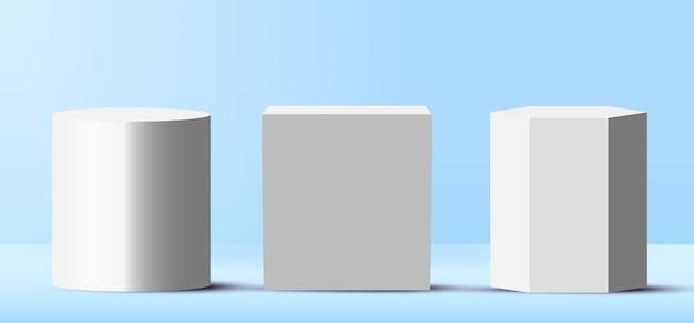 Set of 3d realistic blank white podiums pedestal stands in light blue stage platform.