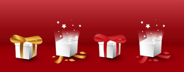 Set of 3d realistic gift box with open and closed variations