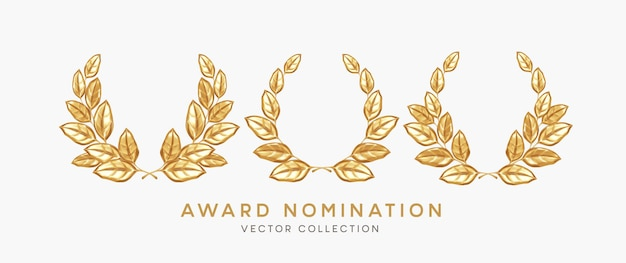 Set of 3d realistic gold laurel wreath winner award nominations isolated on white background. award, prize, rewarding, nominating design elements. vector illustration