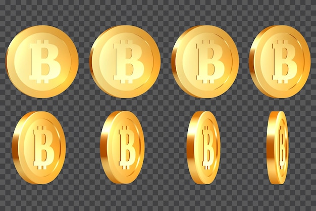 Set of 3d realistic golden metallic bitcoins, with rotate 10-80 degrees