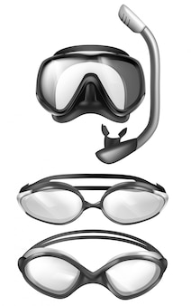 Set of 3d realistic mask for scuba diving and goggles for pool swimming. snorkeling devices.