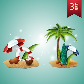 Set of 3d volumetric summer icons for your arts