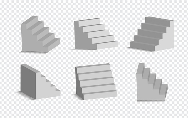 Set of 3d white stairs isolated . architectural white staircases, steps collection for interior illustration