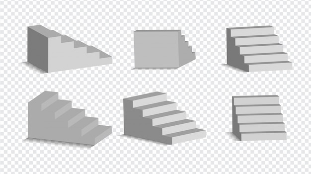 Set of 3d white stairs isolated. architectural white staircases, steps collection for interior illustration