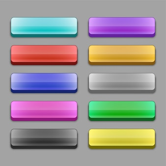 Set of 3d wide web buttons