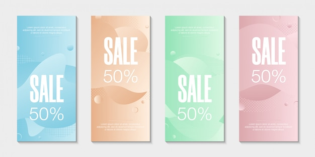 Set of 4 abstract modern graphic liquid banners.