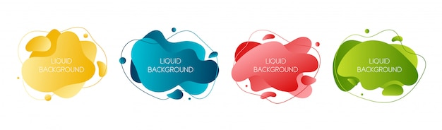 Set of 4 abstract modern graphic liquid elements