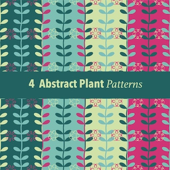 Set of 4 abstract plant pattern background