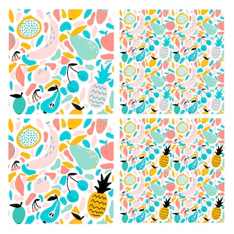 Set of 4 abstract seamless pattern with fruits and berries different size