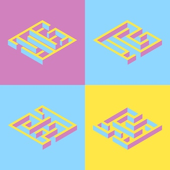 Set of 4 abstract square maze.