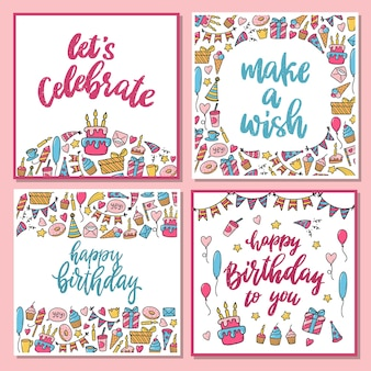 Set of 4 birthday cards with doodles and quotes