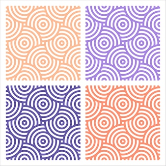 Set of 4 colorful patterns with circles