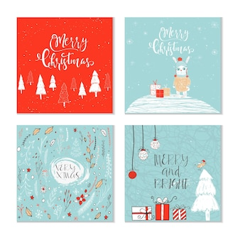 Set of 4 cute christmas gift cards with animals and  lettering quote merry christmas warm wishes