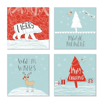 Set of 4 cute christmas gift cards with quote merry christmas, merry and bright, warm wishes, magic moments. easy editable template. vector.