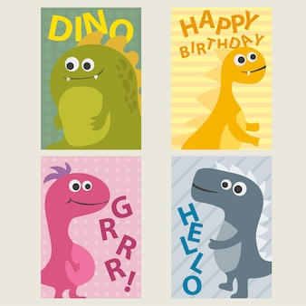 Set of 4 cute creative cards templates with dinosaurs for birthday, anniversary, party invitations, scrapbooking - vector