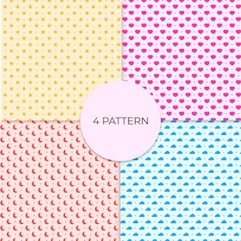Set of 4 cute seamless patterns