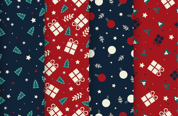 Set 4 cute seamless winter time patterns