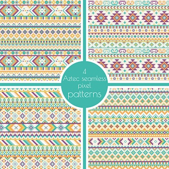 Set of 4 geometric tribal aztec pixel seamless patterns. retro vector cross stitch embroidery background. abstract design. ethnic hipster backdrop.