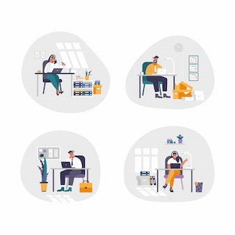 Set of 4 isolated people - concept customer service. flat design. online global technical support.  illustration, help, assistance. people chating with headsets.
