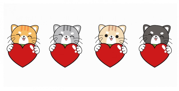 Set of 4 kawaii cats. cats hugging red heart for valentines day.