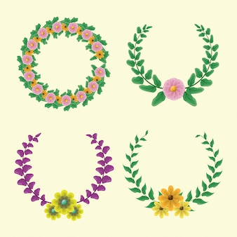 Set of 4 laurel wreath with green and purple colors with yellow and pink flowers