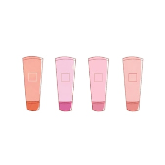 Set of 4 pink lips. cute and simple art style. on a white background.