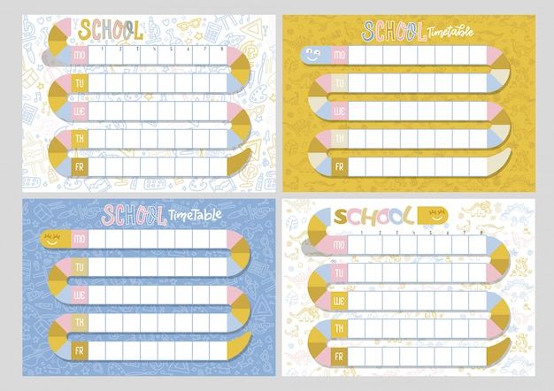 Set of 4 school timetables. timetable of lessons for students with snake.