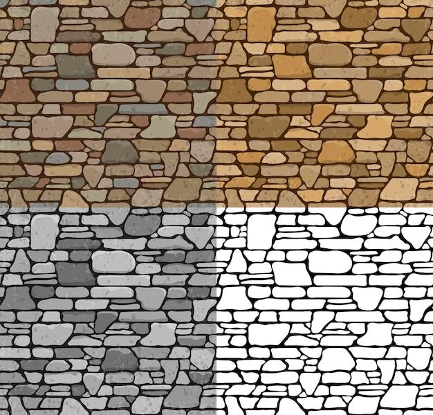 Установите 4 бесшовные текстуры каменной кирпичной стены grunge с различными вариантами цвета. векторные иллюстрации.