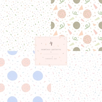 Set of 4 seamless modern abstract pattern confetti.