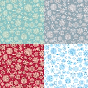 Set of 4 seamless snowflakes pattern for winter