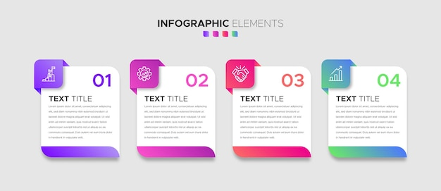 A set of 4 steps business infographic elements with stylish gradient shapes