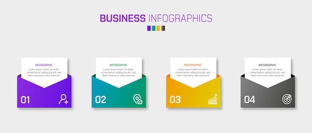 A set of 4 steps business infographics elements with gradient color shapes
