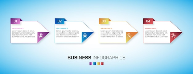 A set of 4 steps business infographics with gradient color shapes effects