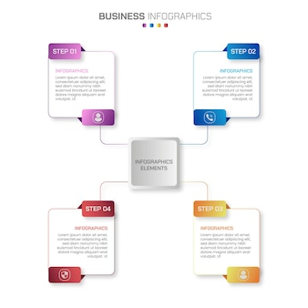 A set of 4 steps business infographics with gradient color shapes