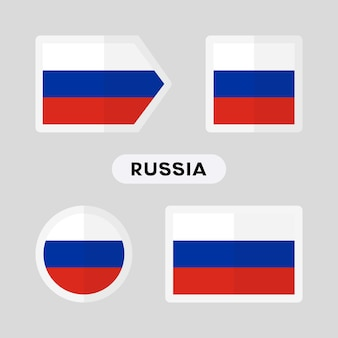 Set of 4 symbols with the flag of russia